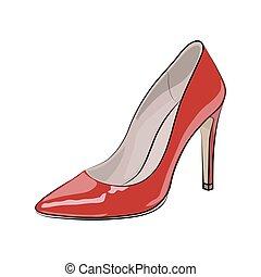 rys, illustration., wektor, shoe., czerwony, kobiety