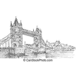rys, ilustracja, ręka, uk., wektor, pociągnięty, wieża, ...