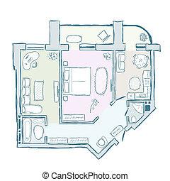 rys, ilustracja, ręka, wewnętrzny, wektor, projektować, izba, pociągnięty