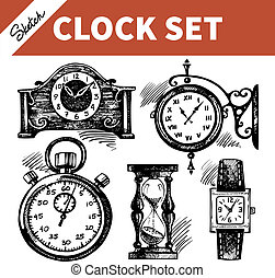 rys, komplet, czaty, ręka, clocks, pociągnięty