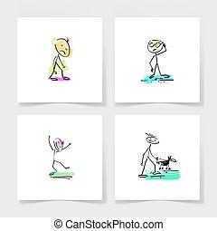 rys, komplet, figura, doodle, ręka, cztery, wtykać, ludzki, markier rysunek