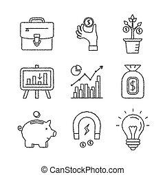 rys, komplet, finanse, handlowe ikony, styl, wektor