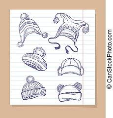 rys, komplet, kapelusze, zima