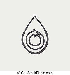 rys, kropla, spirala, woda, strzała ikona