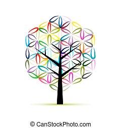 rys, kwiat, sztuka, drzewo, projektować, life., twój