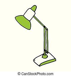 rys, lamp., odizolowany, lampa, tło, biurko, stół, biały