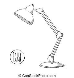 rys, lamp., odizolowany, tło., lampa, wektor, biurko, stół, biały