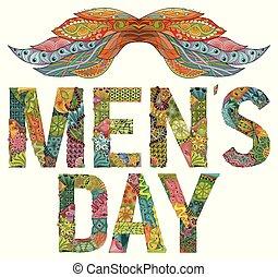 rys, mężczyźni, rysunek, dzień, słówko, ozdobny, kwiatowy, twój, wąsy, design.