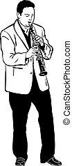 rys, muzyk, saksofon, interpretacja, sopran