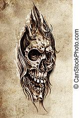 rys, od, capstrzyk, sztuka, czaszka, głowa, ilustracja,...