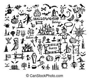 rys, od, halloween, zaprojektujcie elementy