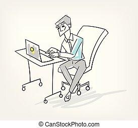 rys, pojęcie, doodle, freelance, litera, ilustracja, wektor