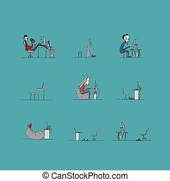 rys, praca, biuro, programiści, projektować, życie, twój