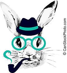 rys, ręka, akwarela, rabbit., hipster, portret, pociągnięty