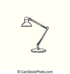 rys, ręka, lampa, stół, pociągnięty, icon.