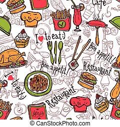 rys, restauracja, próbka, seamless, symbolika, doodle
