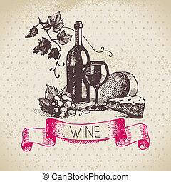 rys, rocznik wina, ilustracja, ręka, tło., pociągnięty, wino