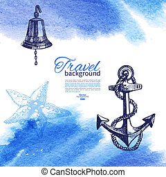 rys, rocznik wina, podróż, ilustracja, ręka, akwarela, tło., morze, morski, pociągnięty, design.