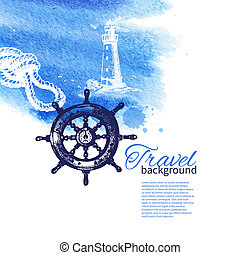 rys, rocznik wina, podróż, ręka, akwarela, tło., morze, morski, ilustracje, pociągnięty, design.