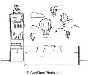 rys, room., wyrostek, ilustracja, dzieci, wektor
