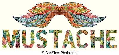 rys, rysunek, ozdobny, kwiatowy, twój, wąsy, design.