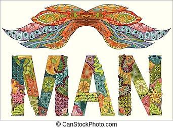 rys, słowo, rysunek, ozdobny, kwiatowy, człowiek, twój, wąsy, design.