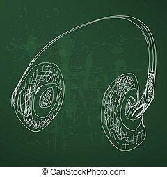 rys, słuchawki