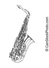 rys, saksofon