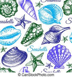 rys, seashell, pattern., seamless, ilustracja, ręka, pociągnięty