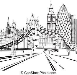 rys, sylwetka, od, londyn