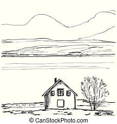 rys, szkic, house., ręka, pociągnięty, krajobraz