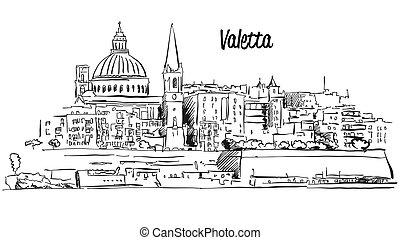 rys, szkic, panorama, wektor, malta., blisko wody, valetta