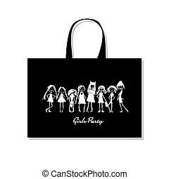 rys, torba na zakupy, dziewczyny, projektować, twój