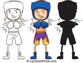 rys, trzy, różny, kolory, bokser, samiec