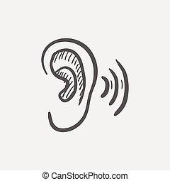 rys, ucho, ikona