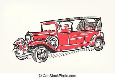 rys, wóz, odizolowany, ilustracja, wektor, retro, czerwony