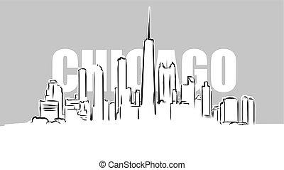 rys, wektor, skylinie, chicago