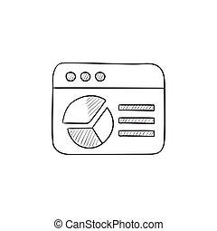 rys, wykres, sroka, okno, icon., browser