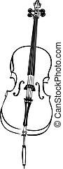 rys, zawiązywać, nanizany instrument, wiolonczela, muzyczny