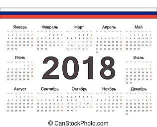 rysk, cirkel, vektor, kalender, 2018