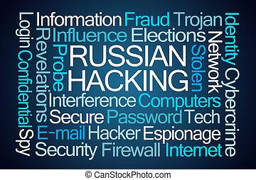 rysk, dataintrång, ord, moln