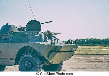 rysk, infanteri, stridande, fordon