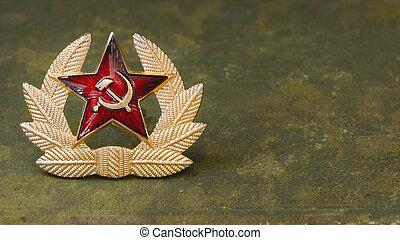 rysk, röda stjärna, med, hammare och skära