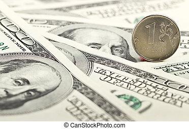 rysk, rubel, mot, den, bakgrund, av, dollars
