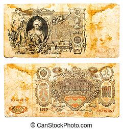 ryssland, -, cirka, 1910:, gammal, rysk, sedel, 100, rubles,...