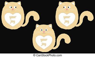 rysunek, 3, wektor, beżowy kot, style.