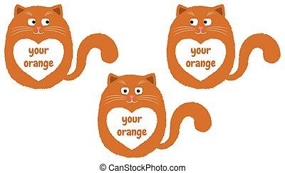 rysunek, 3, wektor, pomarańczowy kot, style.