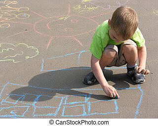 rysunek, asfalt, dziecko