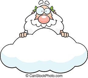rysunek, bóg, chmura