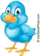 rysunek, błękitny ptaszek
